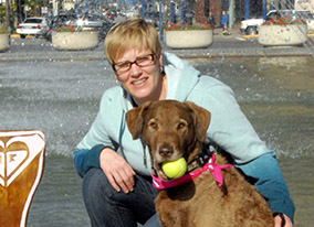 Dog trainer Margaret Simek and her dog.