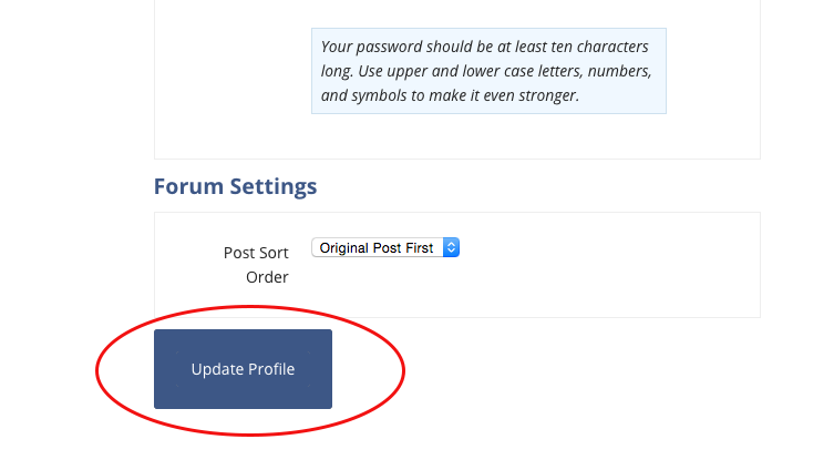 update profile button